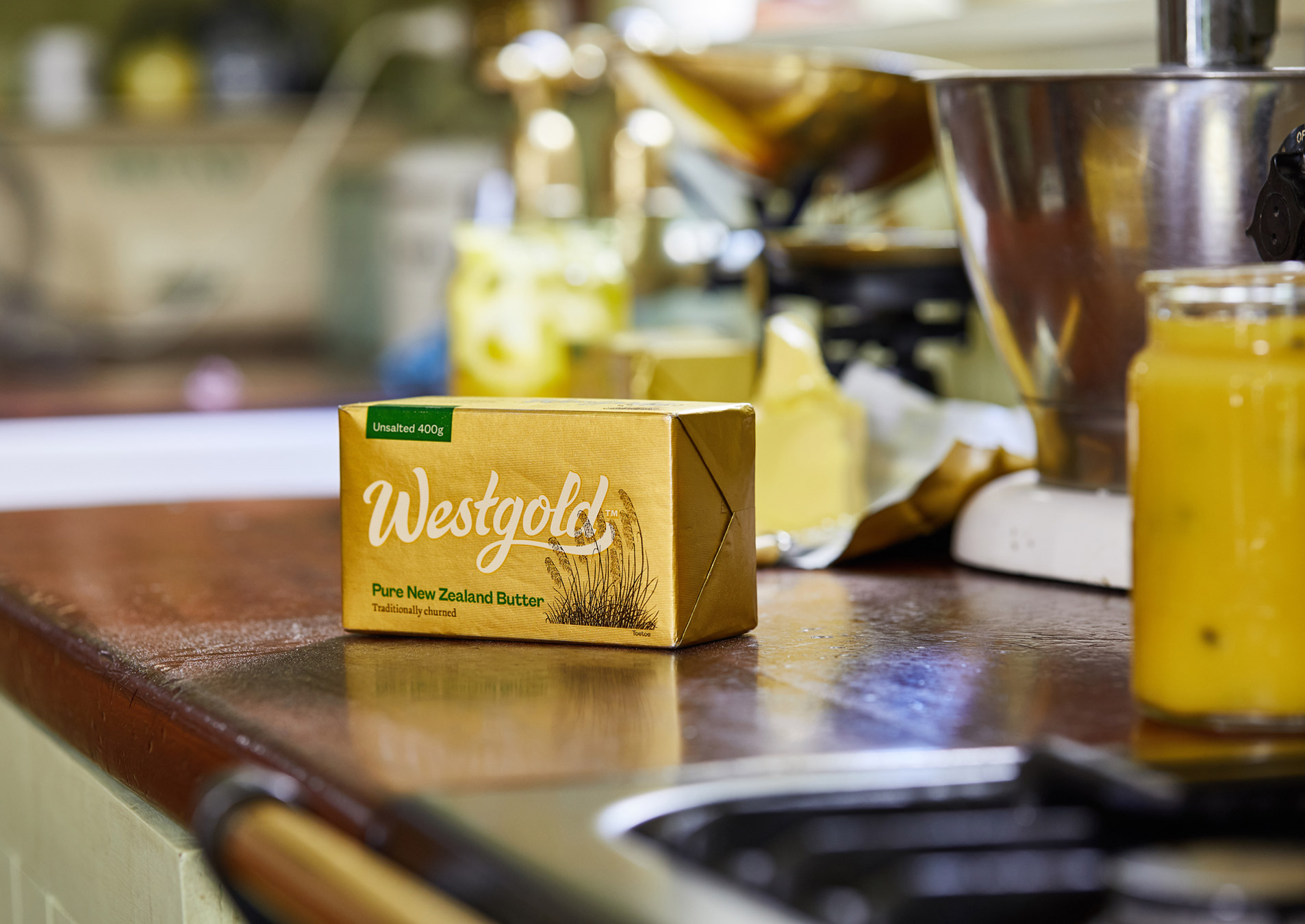 Westgold unsalted butter on bench 1906x1350